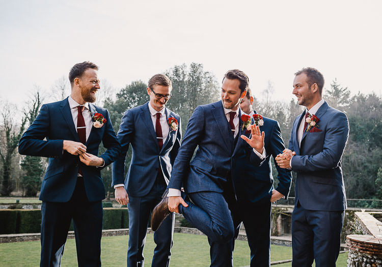 Navy Suit Red Tie Groom Groomsmen Raucous Artistic Wintry Wedding Voewood Norfolk https://www.luisholden.com/