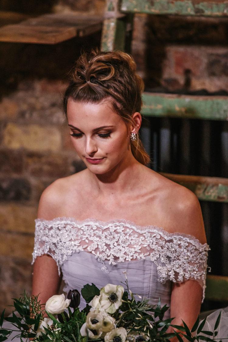 Make Up Bride Bridal Luxe Industrial Velvet Wedding Ideas https://jessypapasavvaphotography.com/