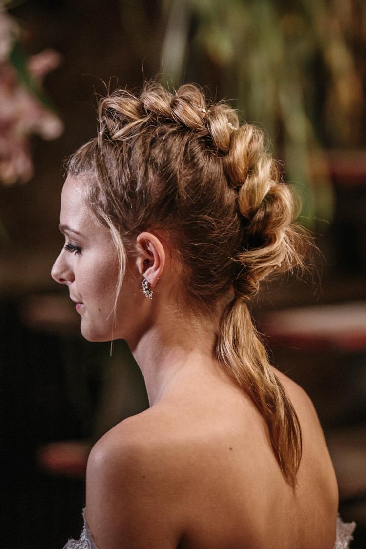 Hair Bride Bridal Waves Hair Braid Plait Mohawk Luxe Industrial Velvet Wedding Ideas https://jessypapasavvaphotography.com/