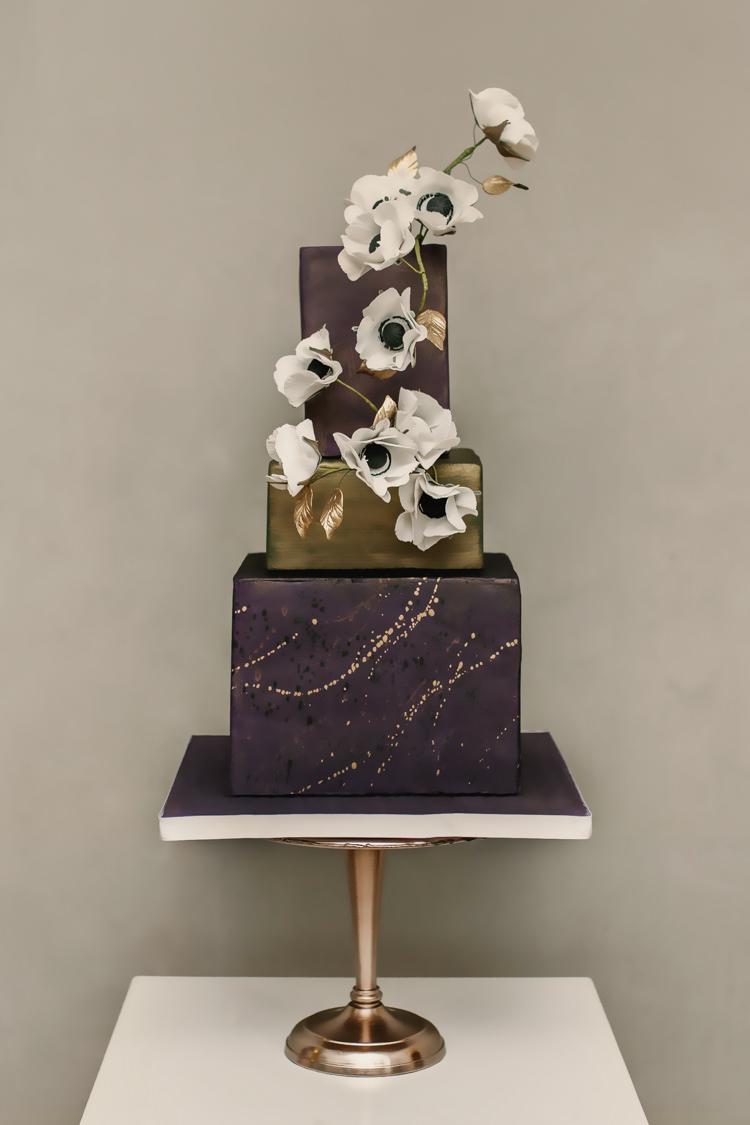 Green Gold Plum Splash Square Cake Flowers Modern Luxe Industrial Velvet Wedding Ideas https://jessypapasavvaphotography.com/