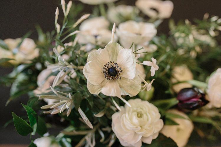 Flowers White Green Plum Tulips Anemone Ranunculus Luxe Industrial Velvet Wedding Ideas https://jessypapasavvaphotography.com/
