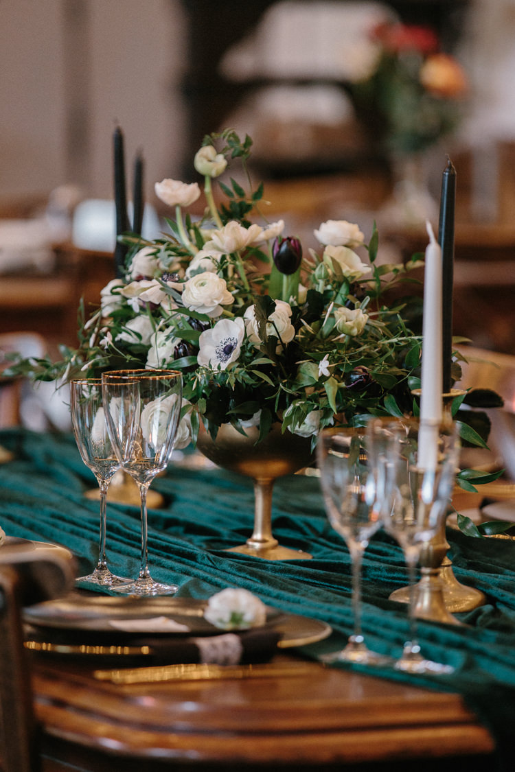 Gold Compote Centrepieces Flowers White Green Plum Tulips Anemone Ranunculus Candles Luxe Industrial Velvet Wedding Ideas https://jessypapasavvaphotography.com/