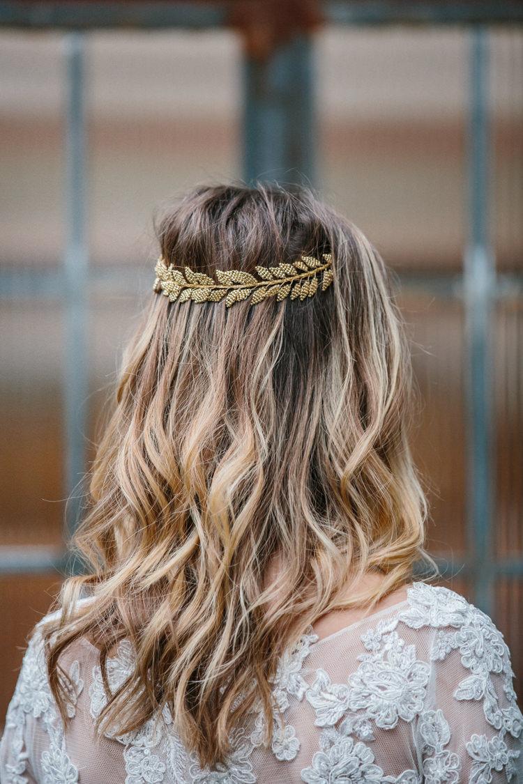 Hair Bride Bridal Waves Ombre Hair Vine Leaf Balayage Luxe Industrial Velvet Wedding Ideas https://jessypapasavvaphotography.com/