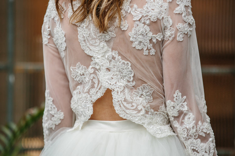 Bridal Separates Top Skirt Lace Tulle Dress Gown Bride Bridal Sleeves Luxe Industrial Velvet Wedding Ideas https://jessypapasavvaphotography.com/