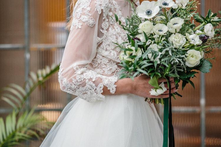 Bouquets Ribbon Bride Bridal Flowers White Green Plum Tulips Anemone Ranunculus Luxe Industrial Velvet Wedding Ideas https://jessypapasavvaphotography.com/