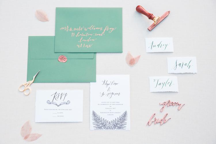 Stationery Suite Copper Calligraphy Invites Invitations Lush Botanical City Roof Garden Wedding Ideas http://jessicadaviesphotography.co.uk/
