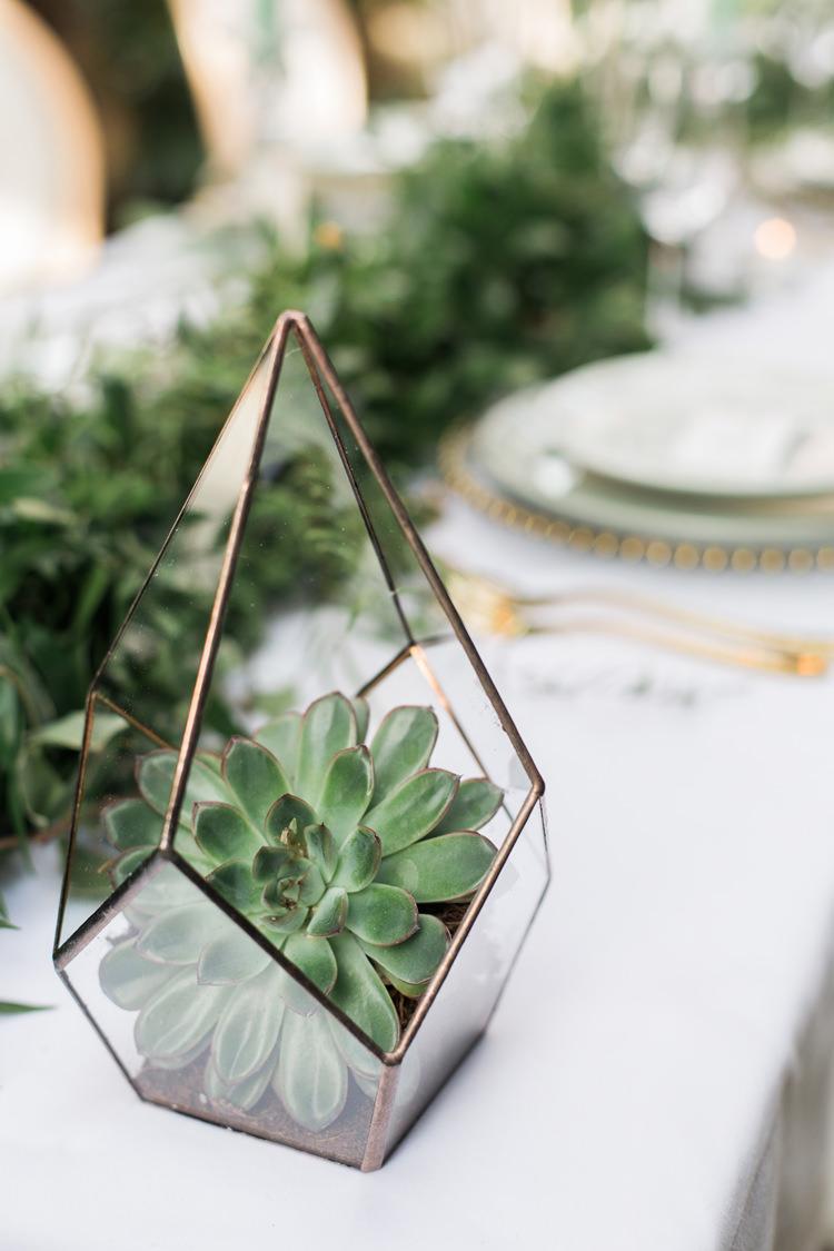 Terrariums Geometric Succulents Table Decor Lush Botanical City Roof Garden Wedding Ideas http://jessicadaviesphotography.co.uk/
