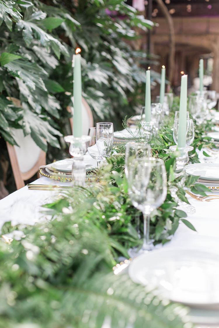 Greenery Garland Swag Table Tablescape Candles Lush Botanical City Roof Garden Wedding Ideas http://jessicadaviesphotography.co.uk/