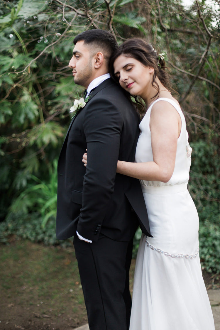 Groom Suit Tuxedo Bow Tie Lush Botanical City Roof Garden Wedding Ideas http://jessicadaviesphotography.co.uk/