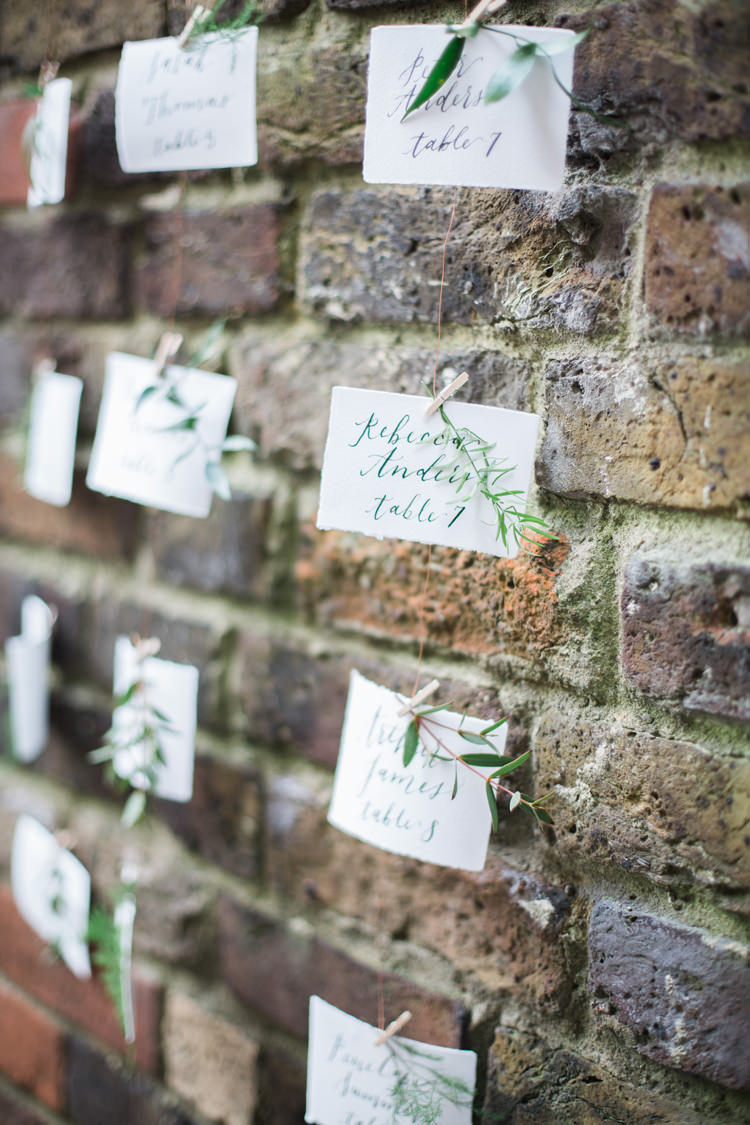 Seating Plan Table Chart Hanging Calligraphy Wall Brick Lush Botanical City Roof Garden Wedding Ideas http://jessicadaviesphotography.co.uk/