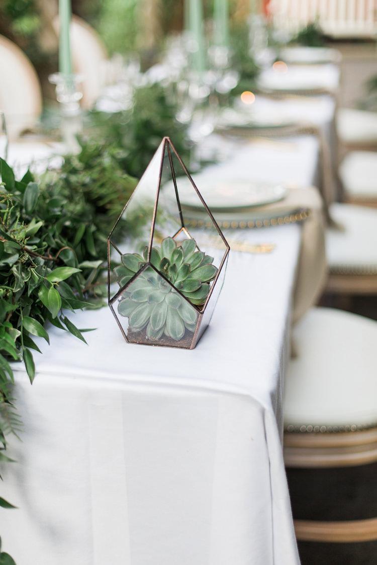 Terrariums Geometric Succulents Tables Decor Lush Botanical City Roof Garden Wedding Ideas http://jessicadaviesphotography.co.uk/