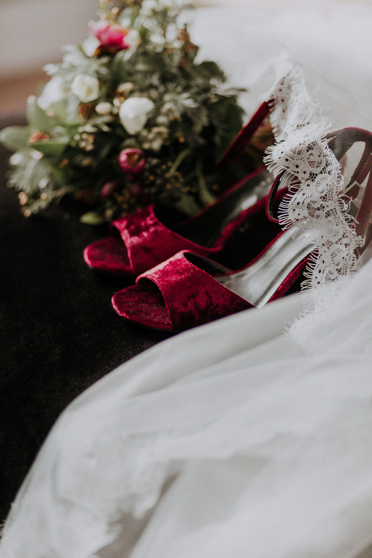 Red Shoes Bride Bridal Moody Jewel Tone Velvet Wedding Ideas Sanctum On The Green https://lolarosephotography.com/