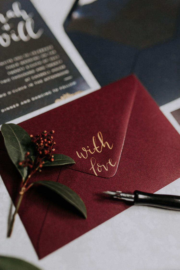 Calligraphy Stationery Invites Invitations Navy Red Moody Jewel Tone Velvet Wedding Ideas Sanctum On The Green https://lolarosephotography.com/