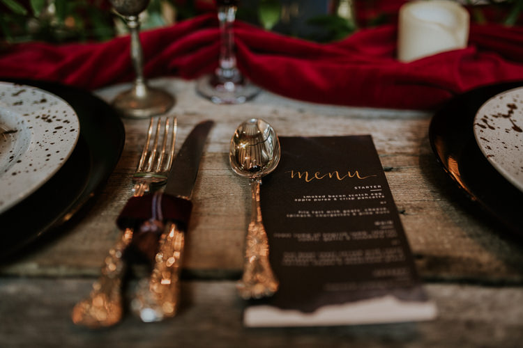 Table Tablescape Decor Red Blue Gold Candles Cutlery Moody Jewel Tone Velvet Wedding Ideas Sanctum On The Green http://www.kategrayphotography.com/