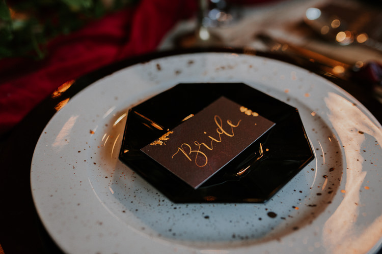 Black Gold Tassel Place Name Card Setting Moody Jewel Tone Velvet Wedding Ideas Sanctum On The Green http://www.kategrayphotography.com/