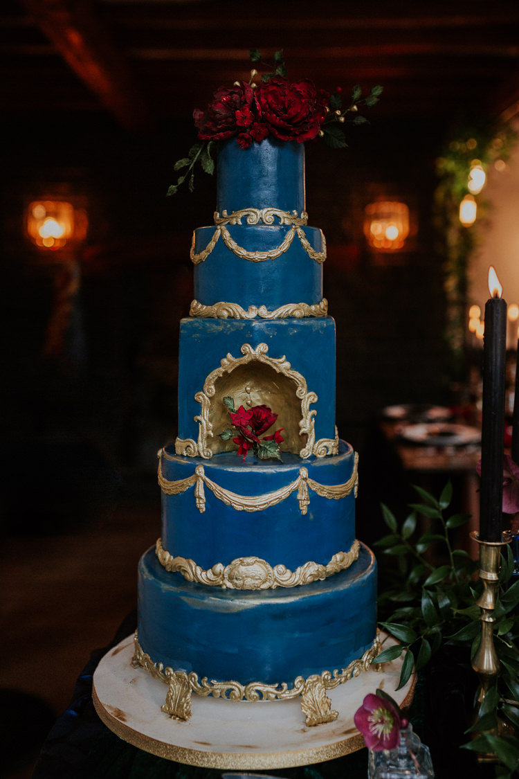 Blue Gold Cake Moody Jewel Tone Velvet Wedding Ideas Sanctum On The Green http://www.kategrayphotography.com/