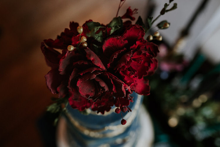 Flower Cake Topper Red Moody Jewel Tone Velvet Wedding Ideas Sanctum On The Green http://www.kategrayphotography.com/