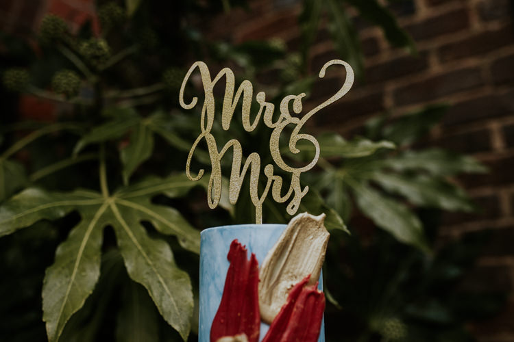 Gold Mrs Mrs Cake Topper Moody Jewel Tone Velvet Wedding Ideas Sanctum On The Green http://www.kategrayphotography.com/