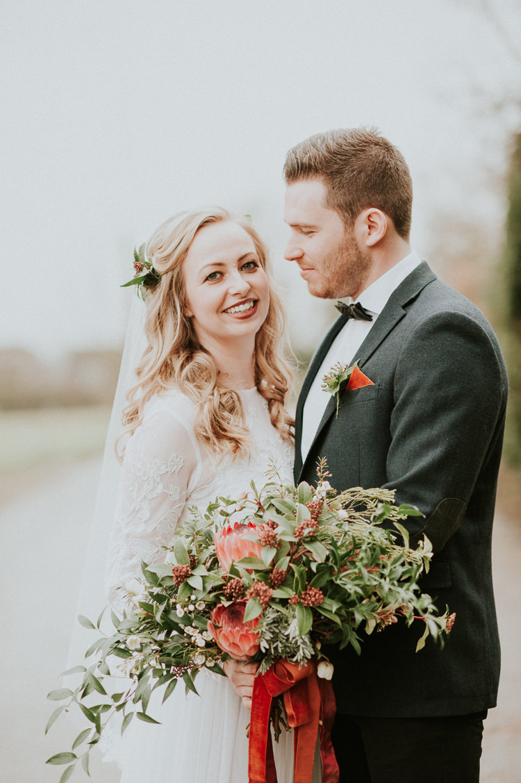 Bouquet Flowers Bride Bridal Red Greenery Ribbon Wild Moody Jewel Tone Velvet Wedding Ideas Sanctum On The Green https://www.hannahmcclunephotography.com/
