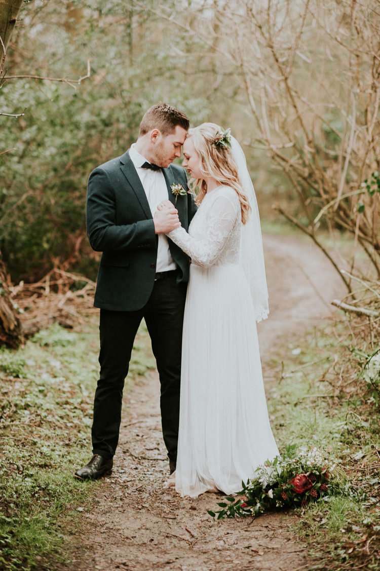 Dress Gown Bride Bridal Sleeves Veil Moody Jewel Tone Velvet Wedding Ideas Sanctum On The Green https://www.hannahmcclunephotography.com/