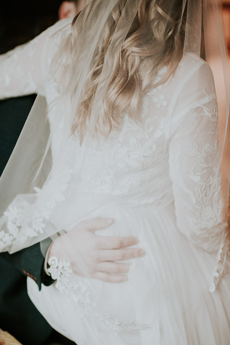 Embroidered Embroidery Lace Dress Gown Veil Bride Bridal Moody Jewel Tone Velvet Wedding Ideas Sanctum On The Green https://www.hannahmcclunephotography.com/