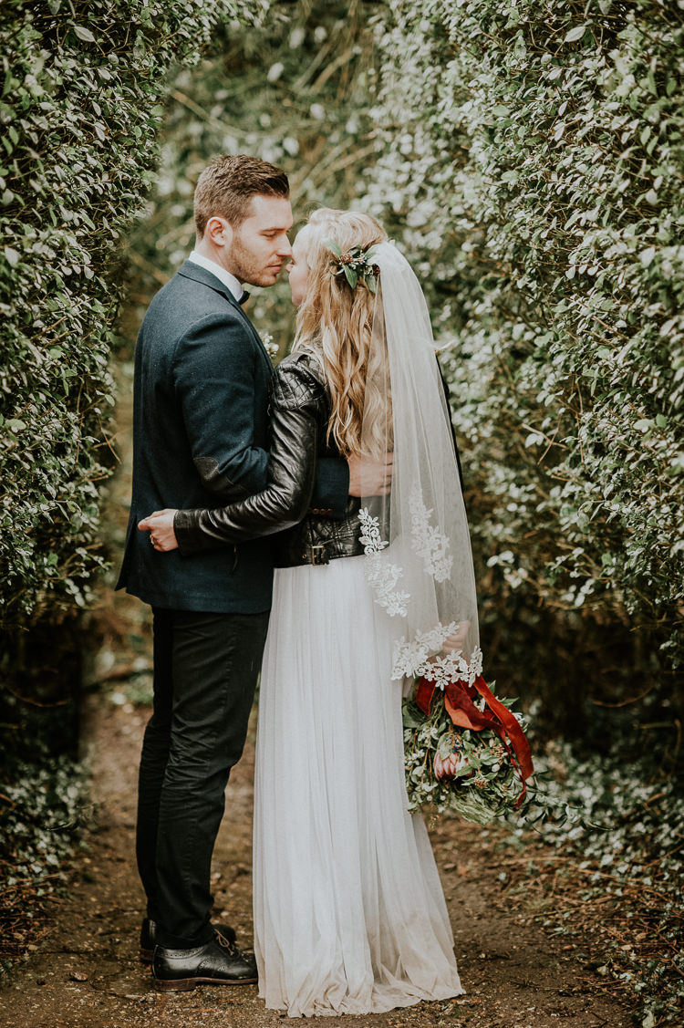 Leather Jacket Bride Bridal Moody Jewel Tone Velvet Wedding Ideas Sanctum On The Green https://www.hannahmcclunephotography.com/