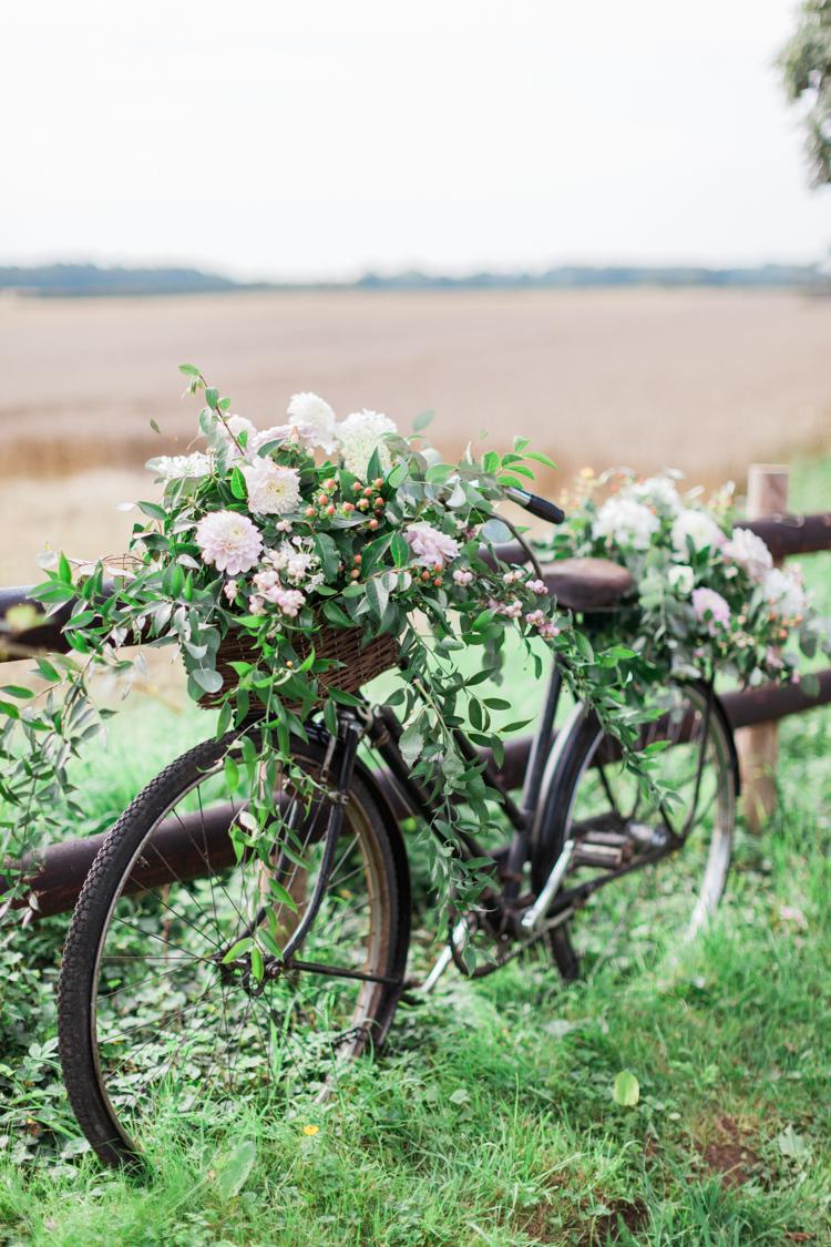 Bike Bicycle Flowers Decor Hazy Summer Lavender Grey Wedding Cripps Barn Cotswolds http://jobradbury.co.uk/