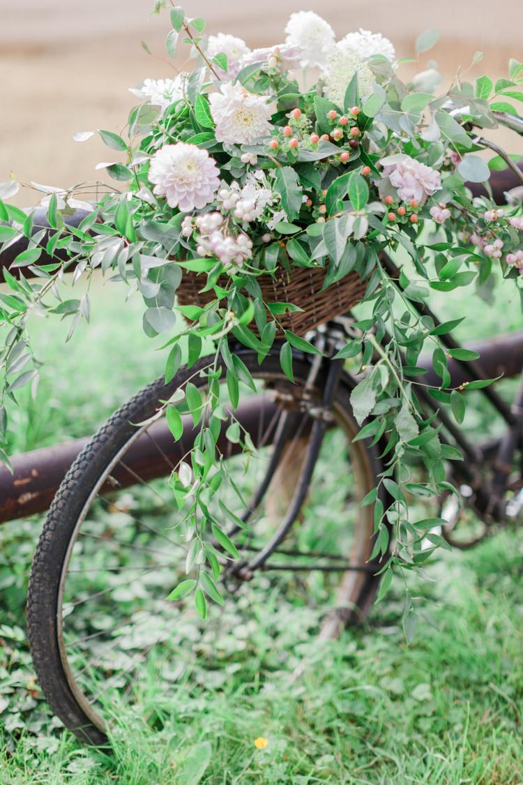 Bike Bicycle Flowers Decor Basket Hazy Summer Lavender Grey Wedding Cripps Barn Cotswolds http://jobradbury.co.uk/