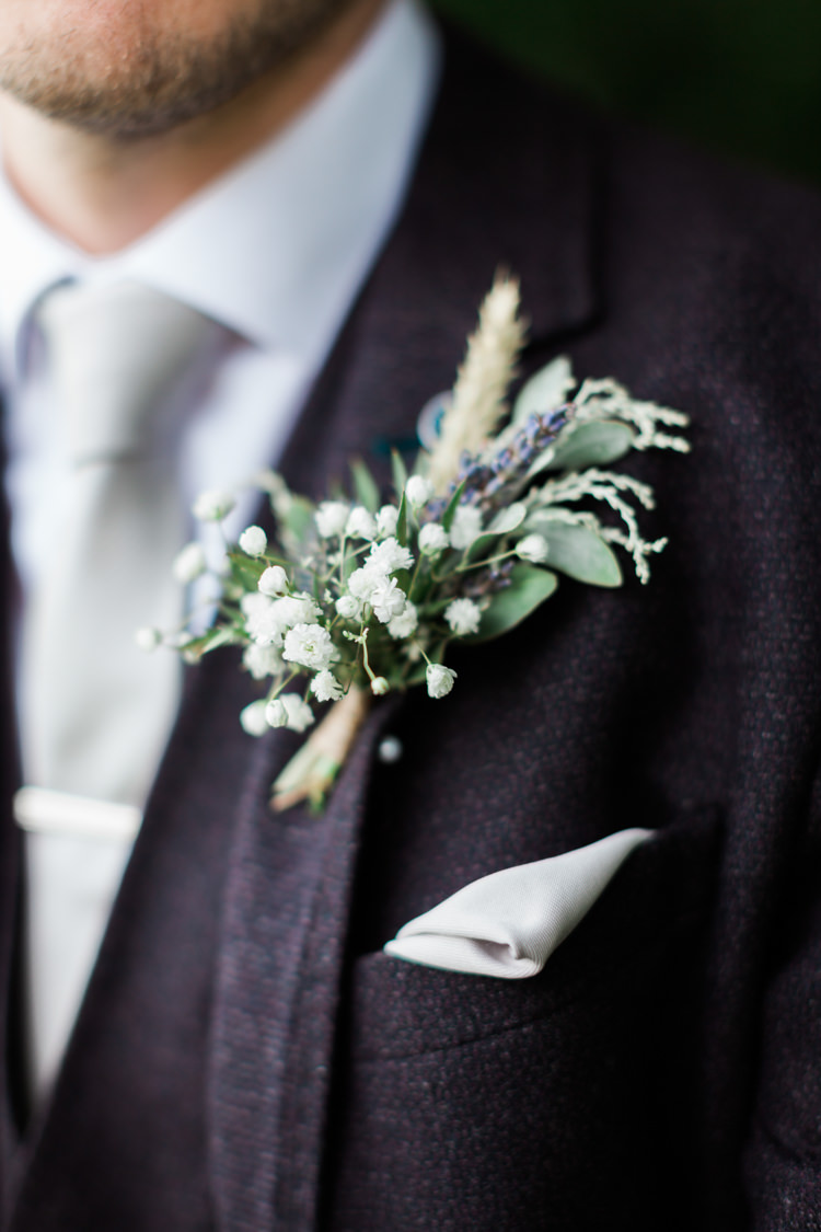 Buttonhole Flowers White Gypsohphila Wheat Greenery Hazy Summer Lavender Grey Wedding Cripps Barn Cotswolds http://jobradbury.co.uk/