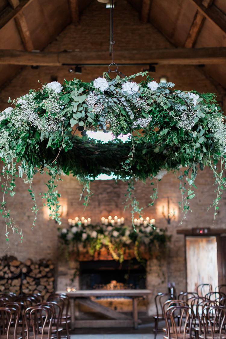 Suspended Hoop Flowers Ceremony Installation Greenery White Hydrangea Gypsophila Hazy Summer Lavender Grey Wedding Cripps Barn Cotswolds http://jobradbury.co.uk/