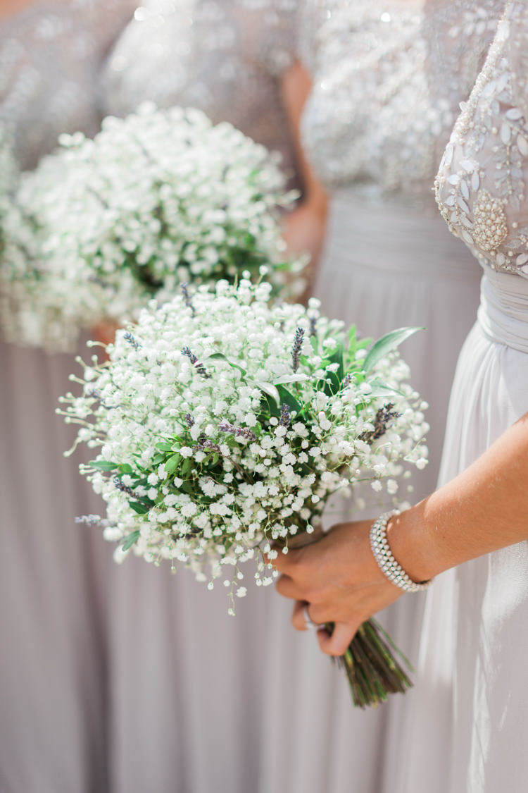 Gypsophila Flowers Bouquets Bridesmaid Hazy Summer Lavender Grey Wedding Cripps Barn Cotswolds http://jobradbury.co.uk/