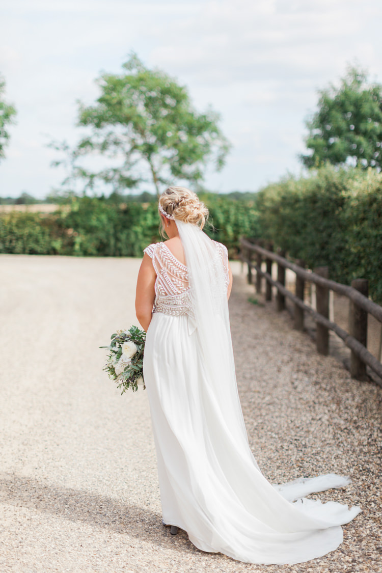 Anna Campbell Dress Gown Beaded Bride Bridal Veil Hazy Summer Lavender Grey Wedding Cripps Barn Cotswolds http://jobradbury.co.uk/