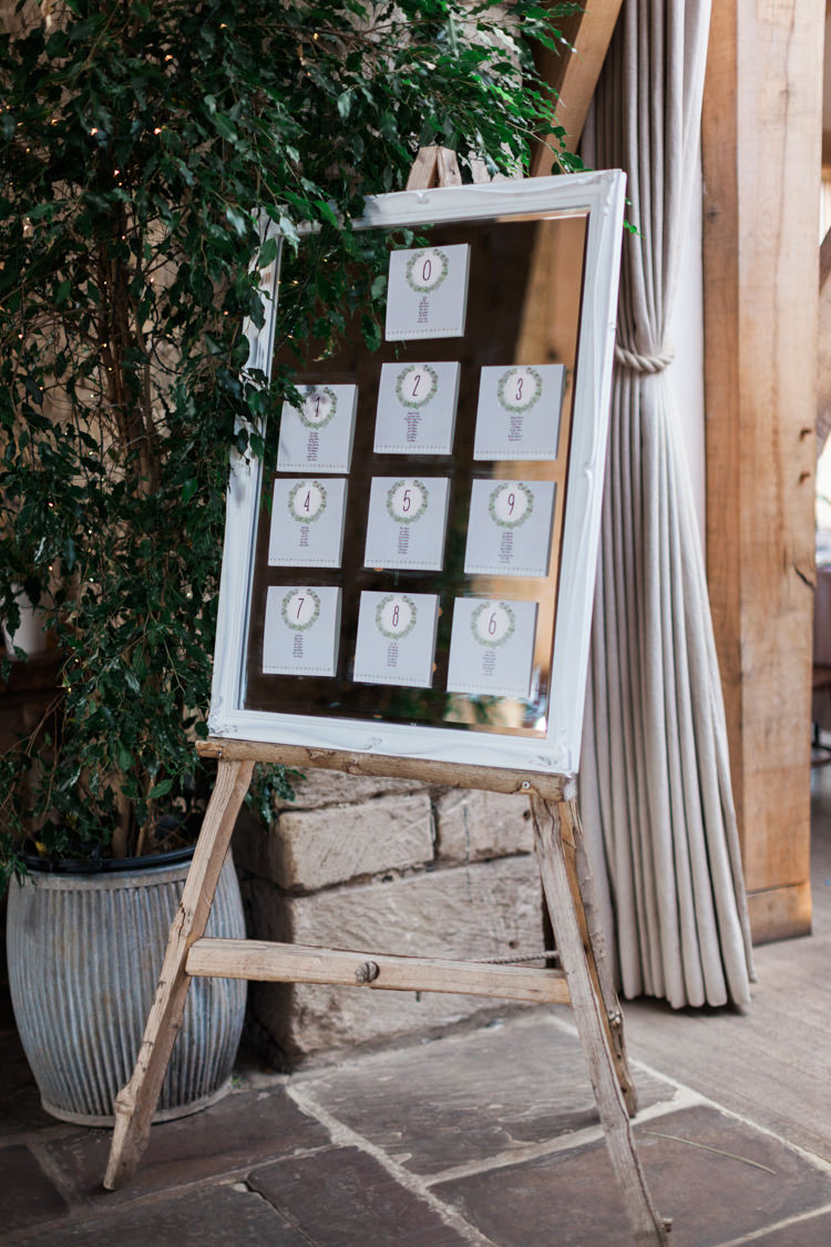 Frame Mirror Seating Plan Table Chart Hazy Summer Lavender Grey Wedding Cripps Barn Cotswolds http://jobradbury.co.uk/