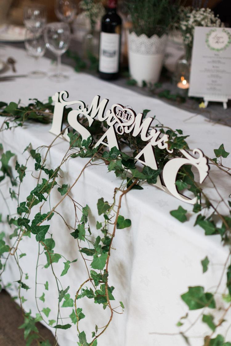 Wooden Laser Cut Name Sign Hazy Summer Lavender Grey Wedding Cripps Barn Cotswolds http://jobradbury.co.uk/