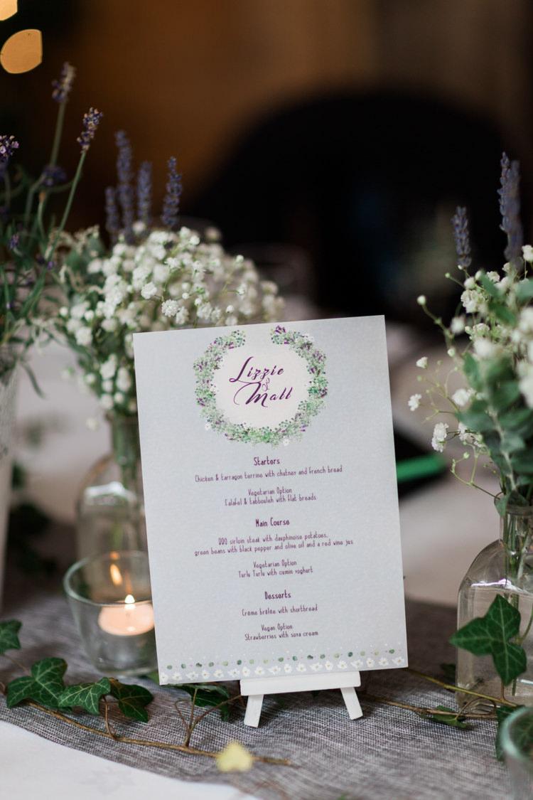 Botanical Menu Stationery Hazy Summer Lavender Grey Wedding Cripps Barn Cotswolds http://jobradbury.co.uk/
