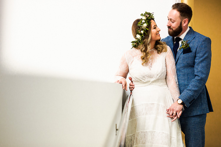 YolanCris Lace Dress Gown Bride Bridal Sleeves 195 Piccadilly BAFTA London Wedding Matt Parry Photography