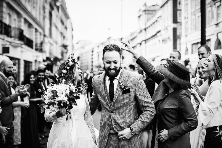 Confetti Throw 195 Piccadilly BAFTA London Wedding Matt Parry Photography
