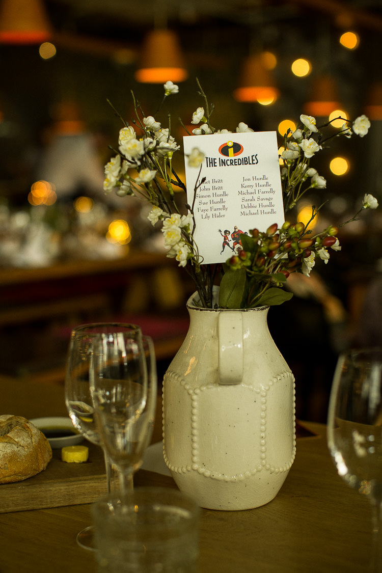 Movie Film Table Name Incredibles 195 Piccadilly BAFTA London Wedding Matt Parry Photography