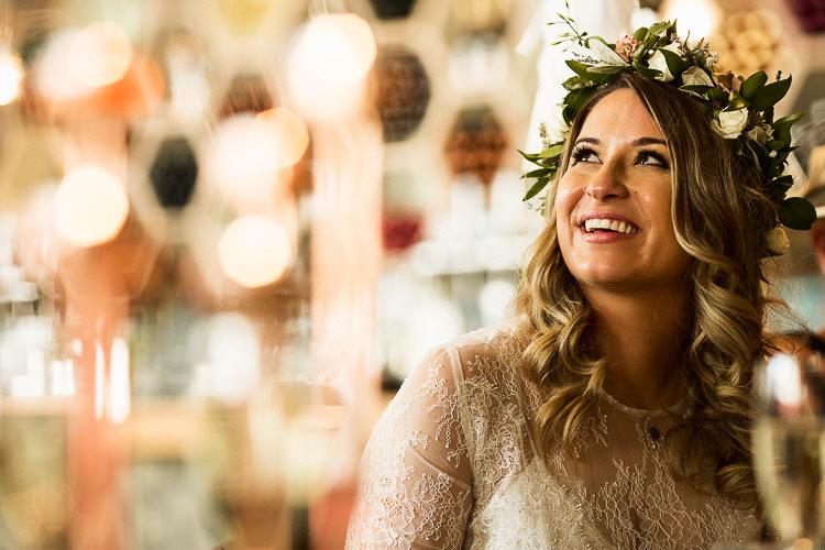 Flower Crown Bride Bridal 195 Piccadilly BAFTA London Wedding Matt Parry Photography