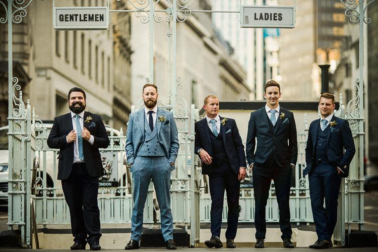 Groom Tweed Blue Check Suit Groomsmen Atttire Outfits Ties 195 Piccadilly BAFTA London Wedding Matt Parry Photography