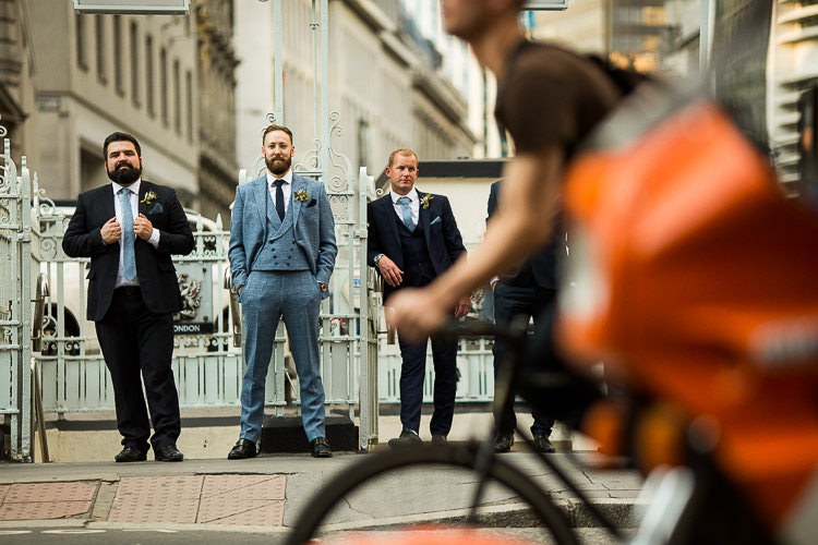 Groom Tweed Blue Check Suit 195 Piccadilly BAFTA London Wedding Matt Parry Photography