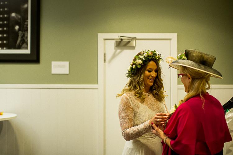 Flower Crown Bride Bridal Accessory Headdress 195 Piccadilly BAFTA London Wedding Matt Parry Photography