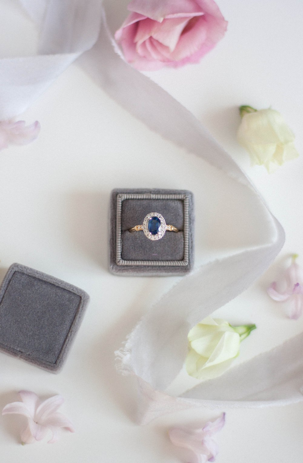 Sapphire Gold Halo Diamond Vintage Velvet Box Alternative Engagement Rings Coloured Gem Wedding
