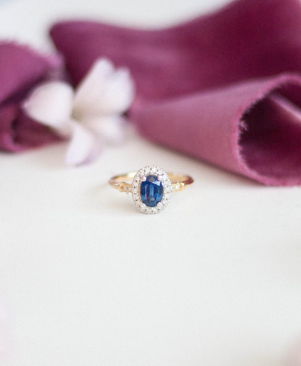Sapphire Gold Halo Diamond Vintage Alternative Engagement Rings Coloured Gem Wedding