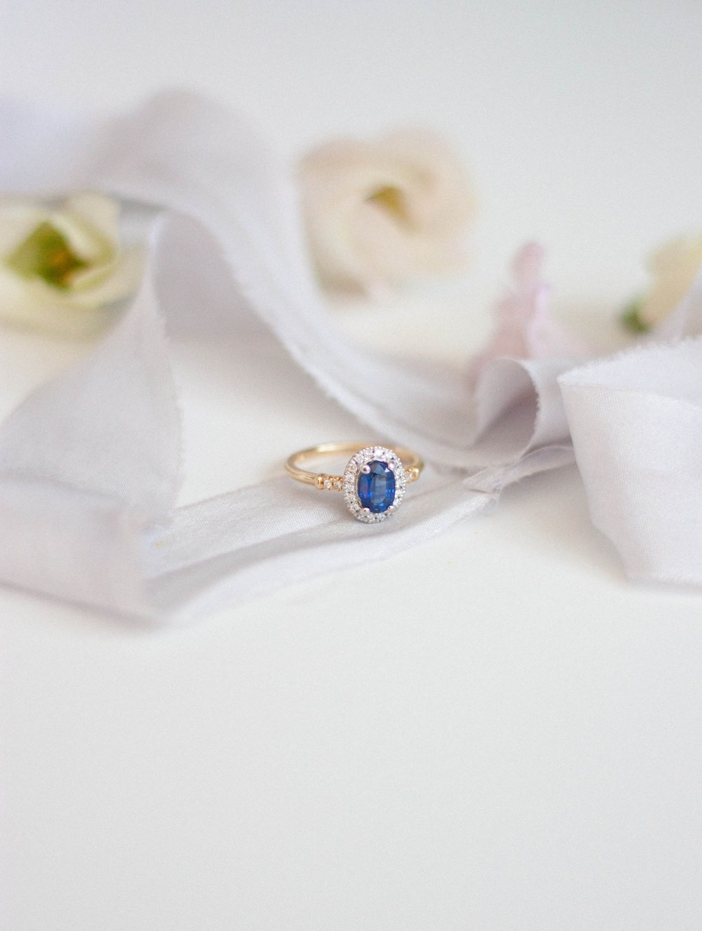 Alternative Engagement Rings Coloured Gem Wedding Vintage Yellow Gold Halo Sapphire Blue Silk Ribbon Diamond