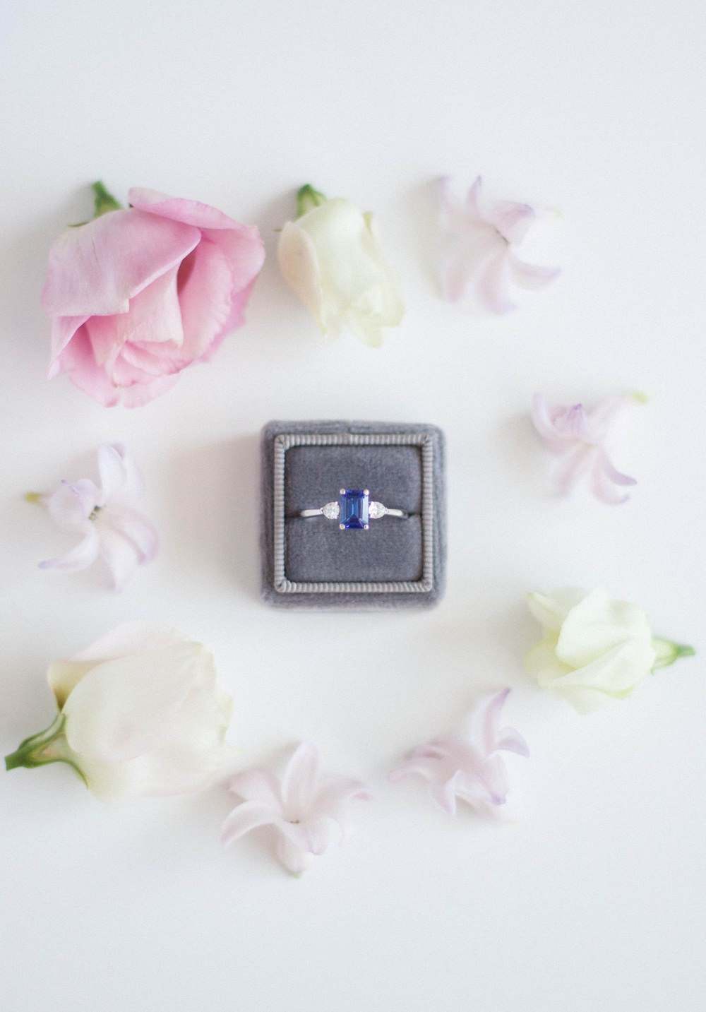 Alternative Engagement Rings Coloured Gem Wedding Velvet Box Vintage Princess Tanzanite