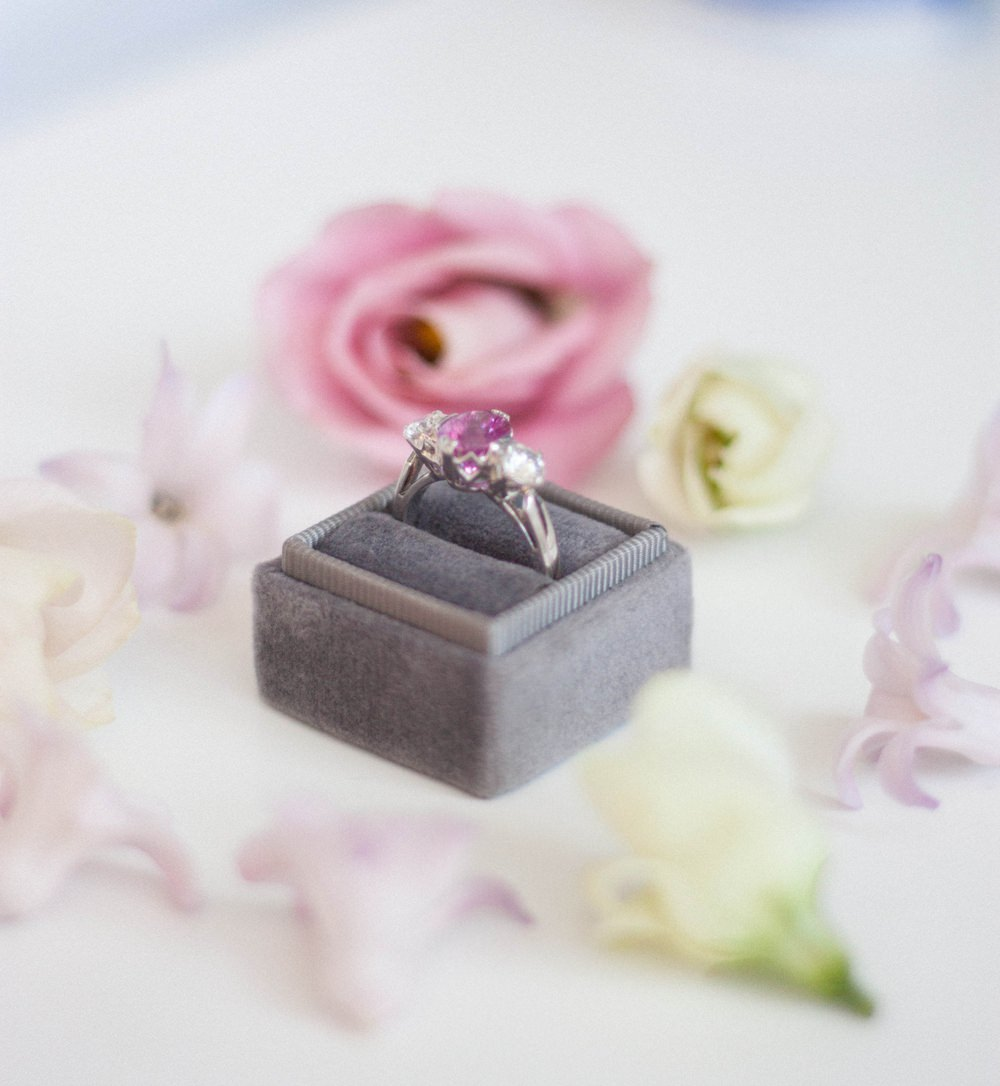 Alternative Engagement Rings Coloured Gem Wedding Pink Sapphire Trilogy Diamond Velvet Box