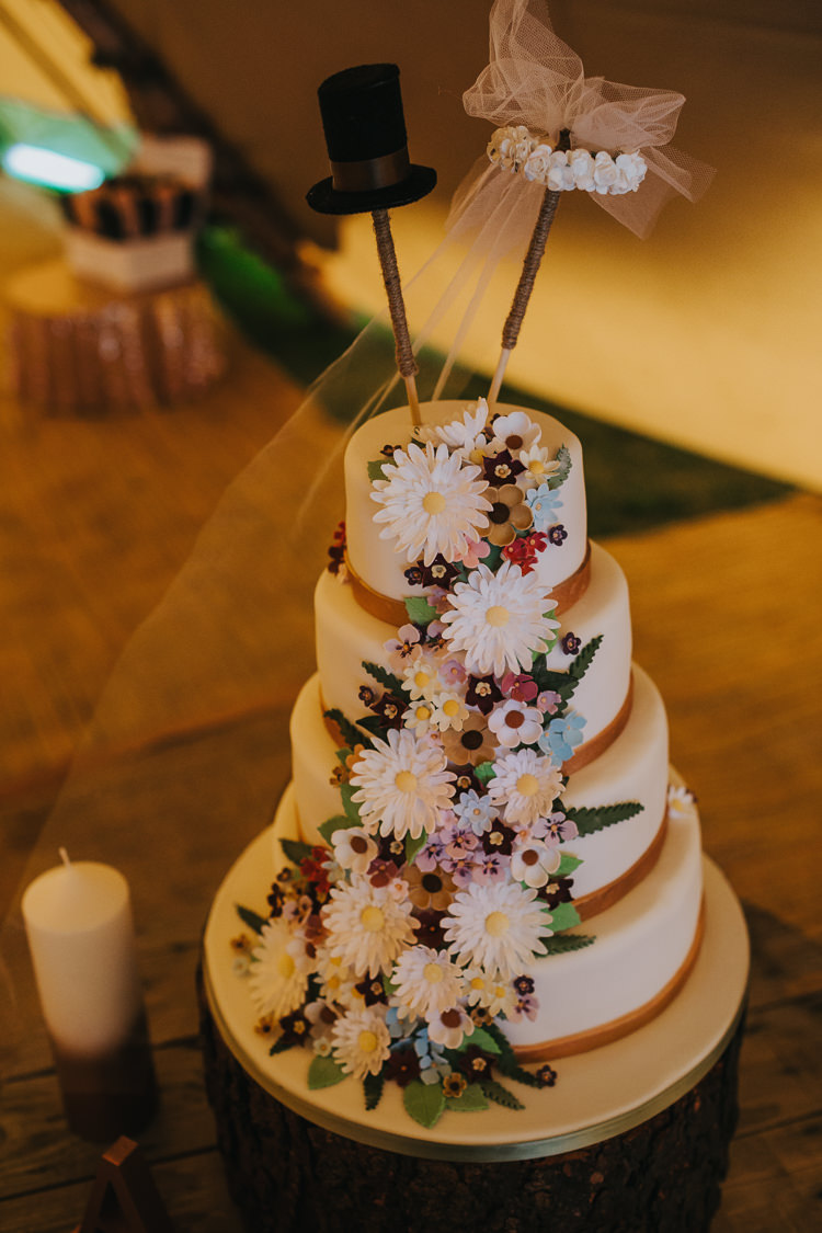 Floral Iced Cake Sugar Angrove Park Tipi Wedding Yorkshire Bloom Weddings