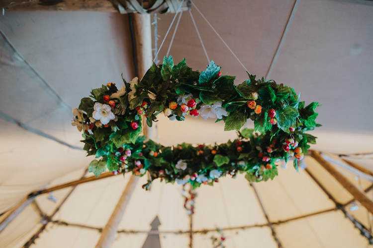 Hanging Hoop Flowers Greenery Angrove Park Tipi Wedding Yorkshire Bloom Weddings