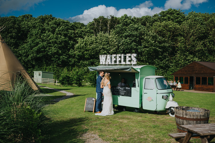 Food Truck Van Street Waffles Angrove Park Tipi Wedding Yorkshire Bloom Weddings